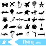 Symboles et icônes de thème de thème de vol réglés Photos libres de droits