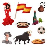Symboles et objets traditionnels espagnols Illustration de vecteur sur le fond blanc illustration de vecteur