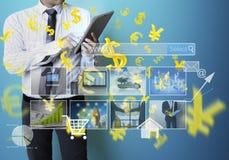 Symboles financiers d'écran tactile Photo stock