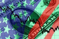 Symboles financiers rouges, blancs, et bleus Image stock