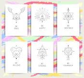 Symboles géométriques d'alchimie de vecteur avec des expressions inspirées Photo libre de droits