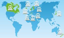 Symboles globaux d'index de paix Photo stock
