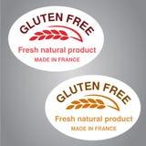 Symboles gratuits de gluten sur le fond blanc Autocollants ovales avec l'épillet illustration stock