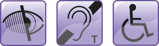 Symboles handicapés sans visibilité sourds image stock