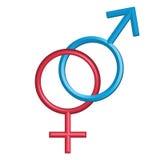 Symboles mâles et femelles, d'isolement sur le blanc Photos libres de droits