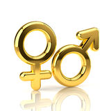 Symboles mâles et femelles d'isolement sur le blanc Photographie stock