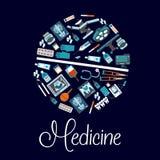 Symboles médicaux dans une forme d'icône plate de pilule Photo stock