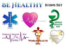 Symboles médicaux sur le blanc Jour de santé du monde illustration libre de droits