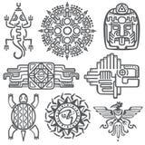 Symboles mexicains antiques de mythologie de vecteur Aztèque américain, modèles indigènes de totem de culture maya illustration stock