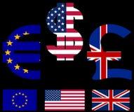 Symboles monétaire et indicateurs Photographie stock