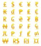 Symboles monétaires d'or Photos stock