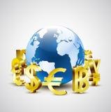 Symboles monétaires d'or du monde déplaçant autour le monde 3d pour économique global illustration de vecteur