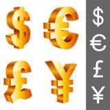 Symboles monétaires de vecteur. Images stock