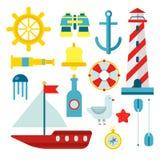 Symboles nautiques marins de marin et icônes plates de vecteur réglées Photographie stock
