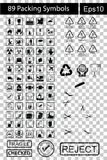 89 symboles noirs d'emballage Images libres de droits
