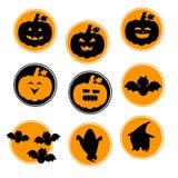 Symboles noirs oranges de Halloween de cercle Image libre de droits