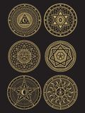 Symboles occultes, mystiques, spirituels, ésotériques d'or de vecteur illustration de vecteur