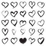 Symboles peints à la main de coeur Illustration Stock