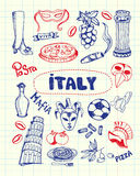 Symboles Pen Drawn Doodles Vector Collection de l'Italie Images libres de droits