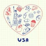 Symboles Pen Drawn Doodles Vector Collection des Etats-Unis Illustration de Vecteur