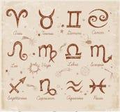 Symboles peu précis de zodiaque de vintage Photos stock