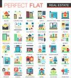 Symboles plats complexes de concept d'icône de vecteur d'immobiliers pour la conception infographic de Web illustration de vecteur