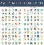 120 symboles plats complexes de concept d'icônes de vecteur d'assurance, immobiliers, construction de bâtiments, outils de concep Photos stock