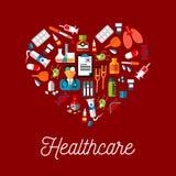 Symboles plats de soins de santé dans une forme de coeur Image libre de droits