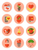 Symboles plats modernes d'amour Images libres de droits