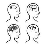 Symboles principaux de maladie mentale illustration stock