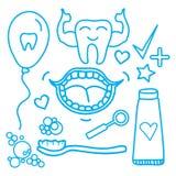 Symboles réglés de soins dentaires de vecteur d'isolement sur le fond blanc illustration de vecteur