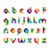 Symboles ronds colorés de police moderne Alphabet décoratif latin illustration stock