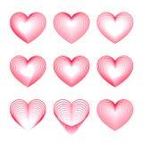 Symboles rouges de coeur de l'amour Images libres de droits