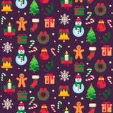 Symboles sans couture de Noël Noël verdissent l'arbre, les jouets de cadeau ou les bonbons à vacances et le vecteur traditionnel  illustration de vecteur