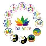 Symboles spirituels de yoga d'icônes d'harmonie et d'équilibre, icônes de Zen Buddhism réglées, symboles de taoïsme, ensemble d'i illustration libre de droits
