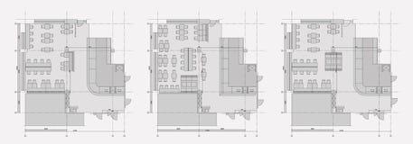 Symboles standard de meubles de café sur des plans d'étage Photo libre de droits
