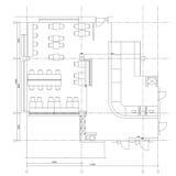 Symboles standard de meubles de café sur des plans d'étage Photographie stock