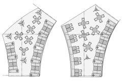 Symboles standard de meubles utilisés dans des plans d'architecture Photos stock