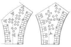 Symboles standard de meubles utilisés dans des plans d'architecture Images stock