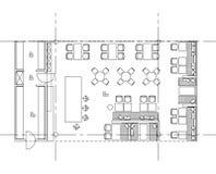 Symboles standard de meubles utilisés dans des plans d'architecture Photographie stock