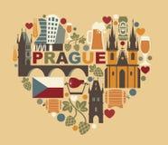 Symboles traditionnels de Prague et de République Tchèque Images stock
