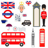 Symboles traditionnels de vecteur de l'Angleterre Image libre de droits
