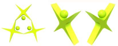 Symboles verts d'équipe de gens d'isolement sur le blanc Image libre de droits