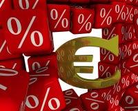 Symbolet av den europeiska fackliga valutan bryter väggen av procentsatser royaltyfri illustrationer