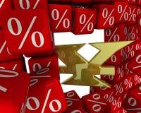 Symbolet av den Kina valutan bryter väggen av procentsatser stock illustrationer