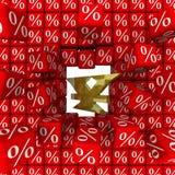 Symbolet av den Kina valutan bryter väggen av procentsatser vektor illustrationer