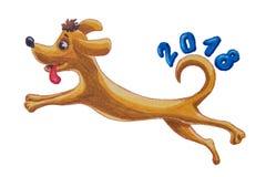 Symbolet av den nya banhoppningen för gul hund 2018 och diagram målade wa Royaltyfria Bilder