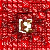 Symbolet av det brittiska pundet bryter väggen av procentsatser royaltyfri illustrationer