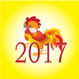Symbolet av det nya året 2017, hane för röd brand Arkivbilder