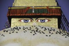 Symbolet av fred är Buddha Boudhanath är stället var buddistiskt folkbruk att göra rundan till deras lord Buddha Arkivbilder